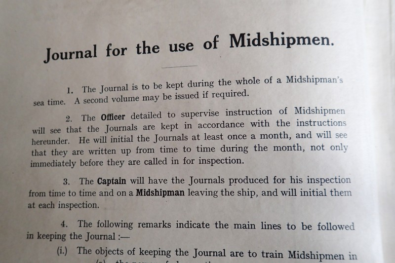 The introductory preface of the WWII Journal for the Use of Midshipmen.